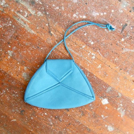 Vintage 1980s designer bright blue avante garde leather purse