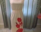 Vintage 70s SHAHEEN Hawaiian Red Rose Strapless  Maxi Dress