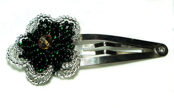 French Beaded Flower Barrette, Custom Color Moss Rose