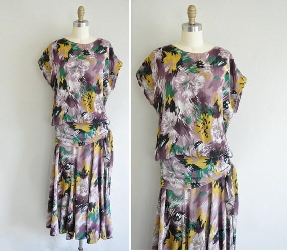 80s does 20s floral rayon dress / vintage 20s style dress / 1980s drop waist silk floral dress