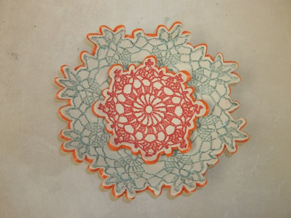 Two  Flower Jewelry Dishes - Sea Foam, Orange, & Pink