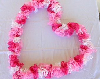 Crochet scarf pink white mesh yarn fluffy frilly neckwarmer adult teen fashion woman neckwear handmade washable