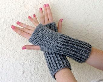 Mid-length fingerless gloves grey gray silver crochet bamboo silk women men medium ribbed thick fancy dressy natural elegant luxury