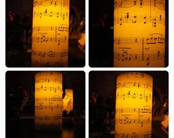 WEDDING CANDLES : Set of 8 Vintage Sheet Music Flameless Luminary 6 x 3