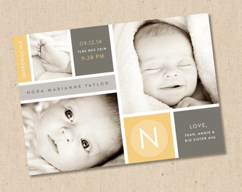 Modern Boxes - Photo Birth Announcement - Baby Girl or Baby Boy
