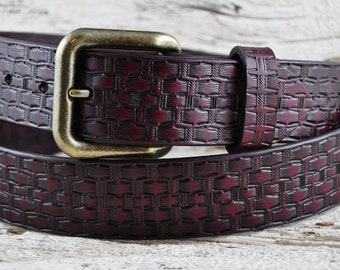Vintage Weave Mahogany Leather Belt SALE