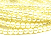 "15.5"" 4mm / 6mm BUTTER yellow Round Glass Pearls round small - PICK SIZE"