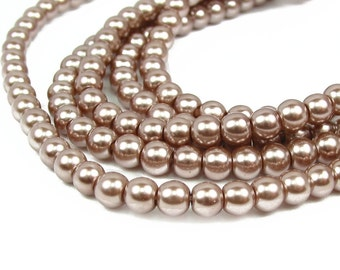 "15.5"" 4mm 6mm COCOA tan brown Round Glass Pearls small - PICK SIZE"