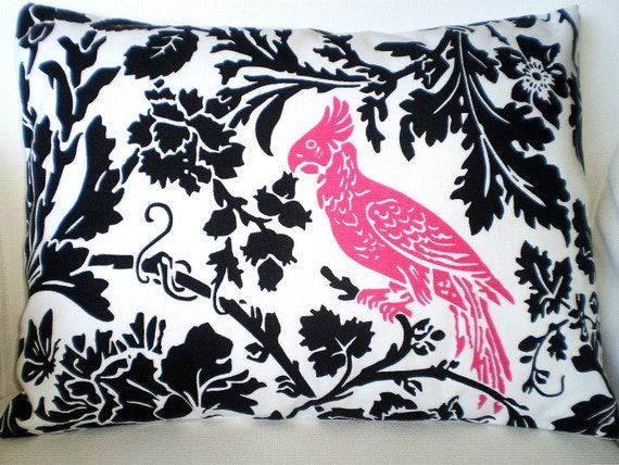 Lumbar Pillow, Decorative Throw Pillow, Cushion Covers, Black and White Floral with Hot Pink Bird Lumbar, Couch, One 12 x 16 or 12 x 18