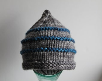 Made to Order Hand Knit Striped Merino Wool Gnome Cap, Newborn - Child Sizes Available