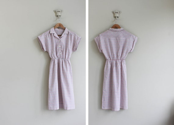 vintage 1950's pastel pink and lilac plaid day dress