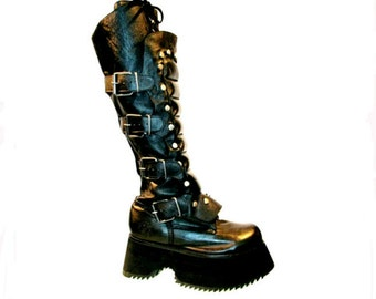 Mens Muro Platform Boots Vintage Black Leather Cyber Industrial Strength Stacks mns sz 8