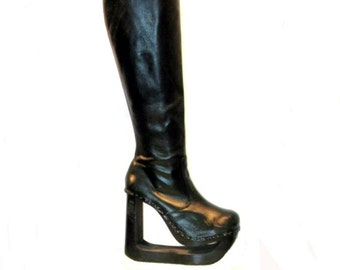 Vintage Platform Boots Womens  Knee High Leather Wood Bottom Platform Boots Wms US Size 11