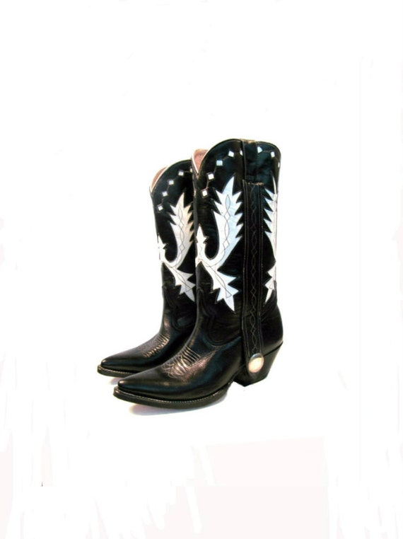 Vintage Cowboy Boots Black and White Leather Inlay Western Boots Mens US size 8