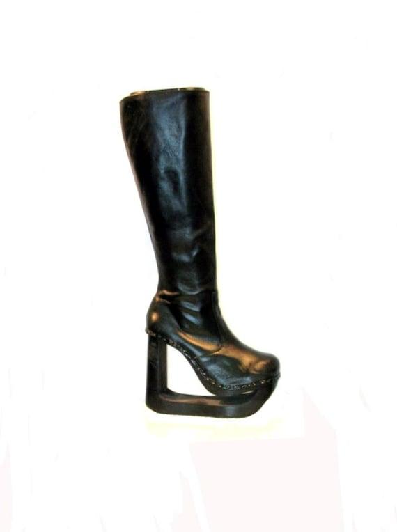 RESERVED for psuedo9: Vintage Knee High Leather Wood Bottom Platform Boots Wms sz 10