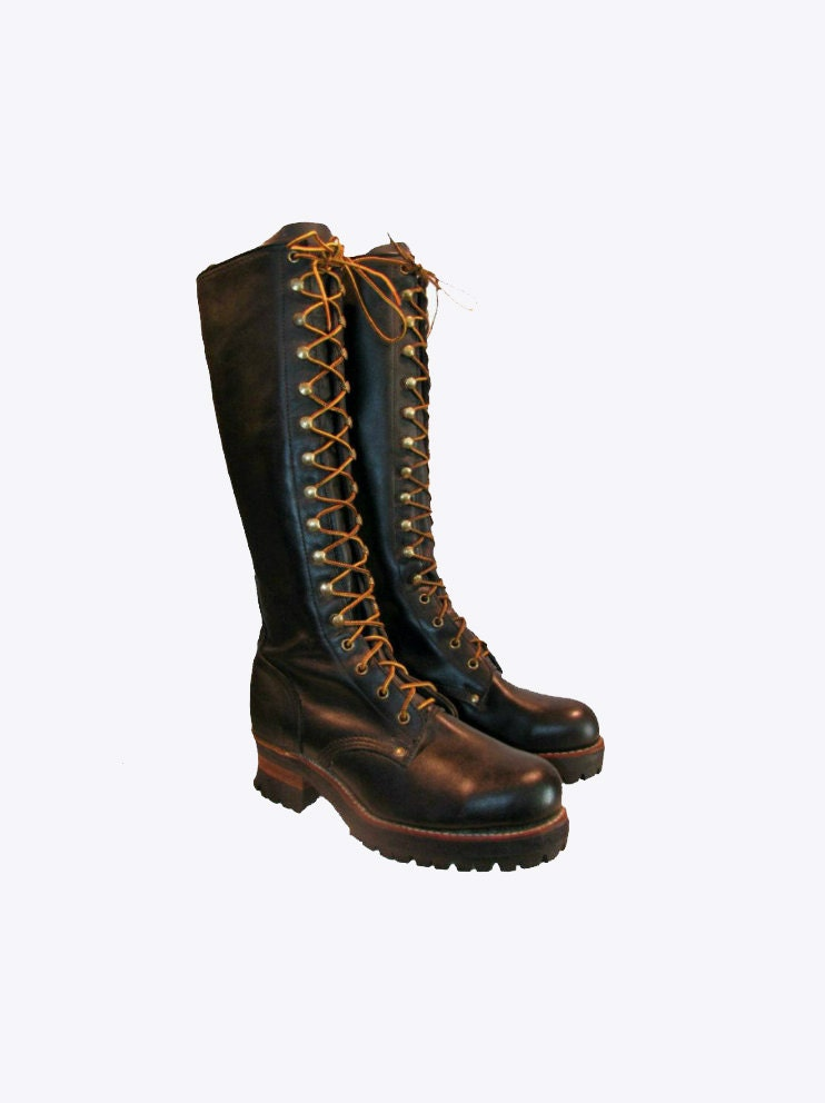 vintage black tanned leather knee high logger boots