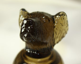 Vintage Dog Lovers Shot Glass Amber Brown Terrier Flip Overs Puppies Canine Barware Excellent Condition Cute Dog Liquor Glass Measures