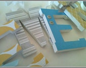 Baby Boy, Nursery Wall Letters, Wooden Letter, Design in Blue, Grey, and Light Yellow, Custom Name, Hanging Decor, Chevron