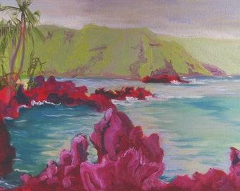 Hauntingly beautiful original Maui landscape painting - Keanae Penninsula oil on canvas, 12x16 plein air Road to Hana Maui