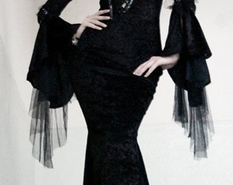 black long elegant gothic dress