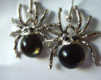 Spider Earrings, Silver and black grey, by NewellsJewels on etsy