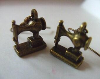 Bronze, Sewing machine, earrings, by NewellsJewels on etsy