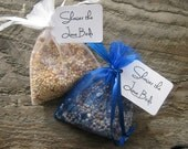 75 Bird Seed filled Organza bags with personalized tags