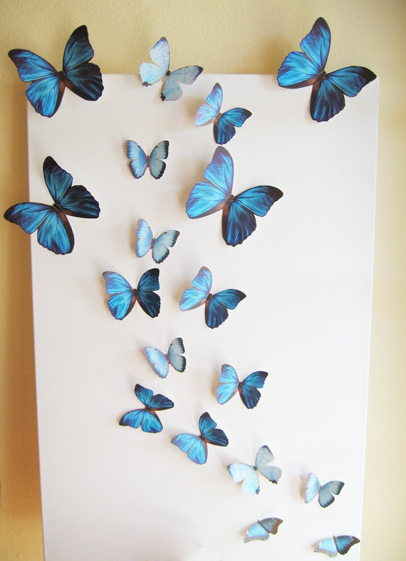 Items similar to 18 butterflies blue something blue for 3d wall butterfly decoration