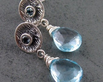 Blue topaz earrings, handmade sterling silver December birthstone earrings-OOAK post earrings