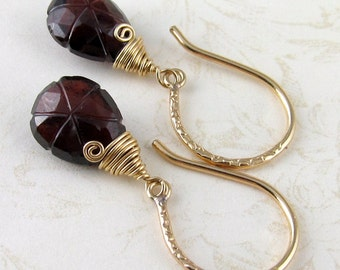 Carved garnet earrings, handmade gold filled January birthstone earrings-OOAK