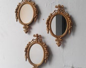 Gold Mirror Set in Small Decorative Vintage Frames, Home Decor, Wall Decor, Wall Collage