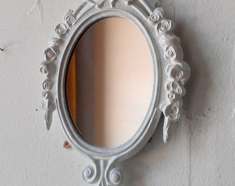 Small Ornate White Mirror, Bridesmaid Gifts, Paris Chic, Country Cottage, Apartment Wall Decor, Frame Collage