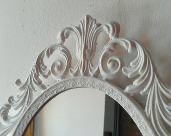 Ornate White Mirror, Decorative Vintage Oval Wall Mirrors, French Provincial, Country Cottage, Shabby Chic Home Wall Decor, White Nursery