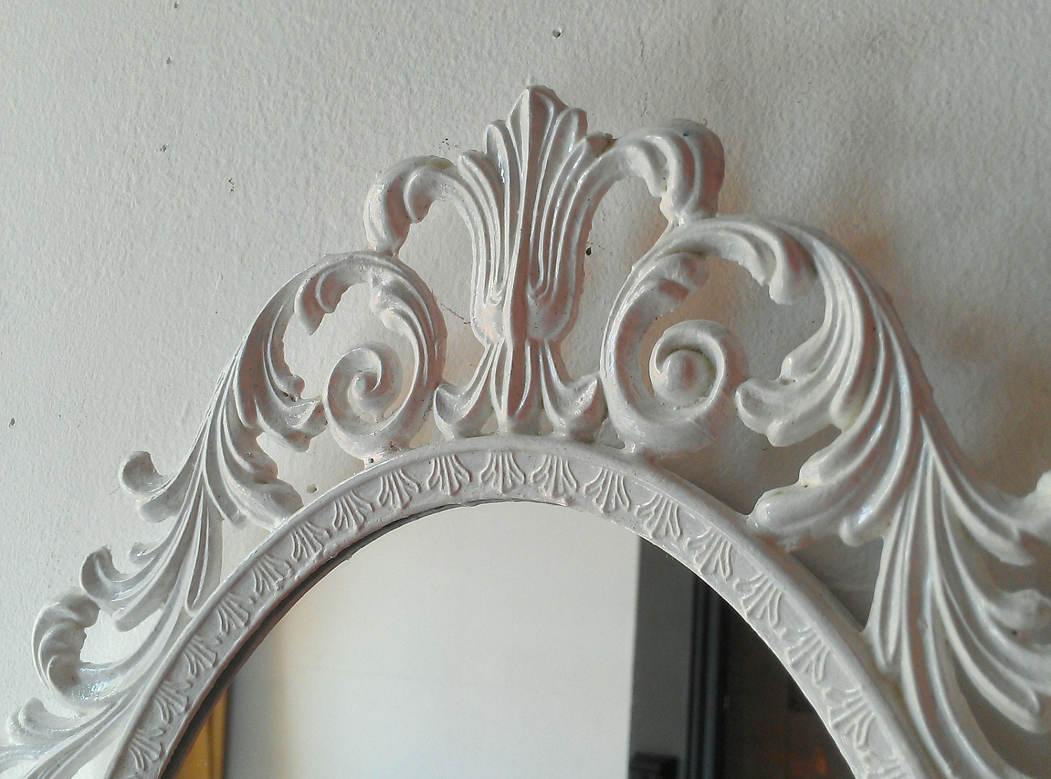 ornate white mirror decorative vintage oval wall mirrors french provincial country cottage - Wall Decor Mirrors