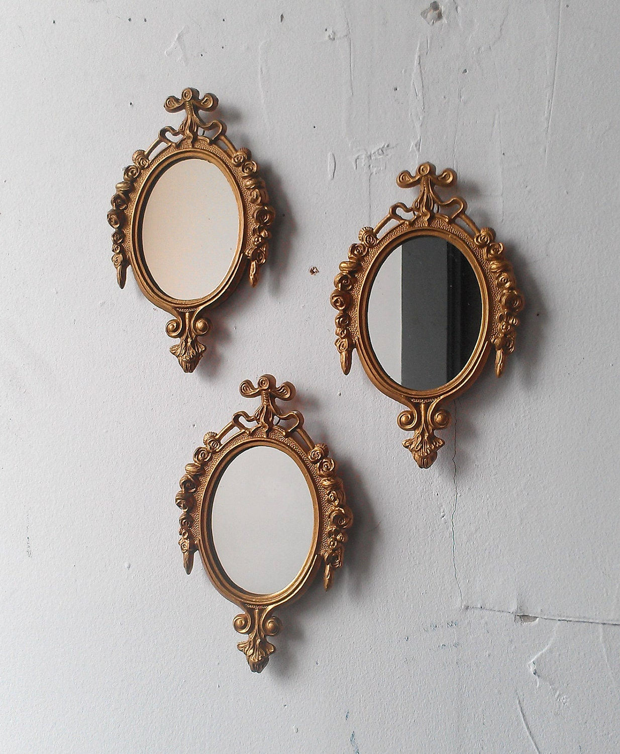 Gold framed mirror set of three in small by for Narrow wall mirror decorative