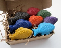 CRAYONS Natural ECO Friendly Toy HANDMADE Fish Soy Coloring Crayons (Set of 8) Gift for Kids, Birthday Party Favor, Kids Gift, Earth Day