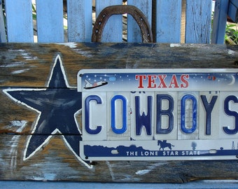 Dallas Cowboys License Plate sign, Dallas Cowboys, Hand Painted, Signs,Wood Fence Panel Sign, Cowboys decor, Home decor, Sports Sign, NFL