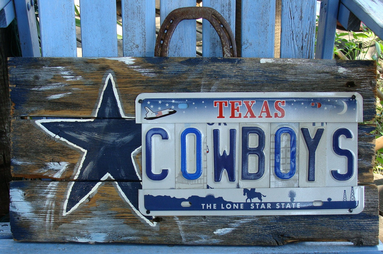 dallas cowboys license plate sign dallas cowboys hand painted