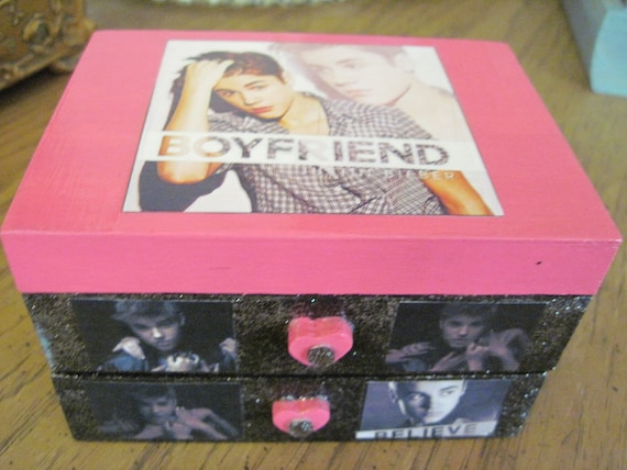 Justin Beiber Hand Crafted Painted and Decoupaged Wood Jewelry Box
