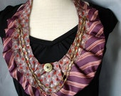 Textile Necklace from Repurposed Neckties Reds and Purples