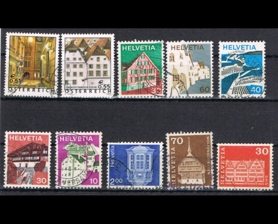 50 Vintage Postage Stamps - Farm House Architecture - Village