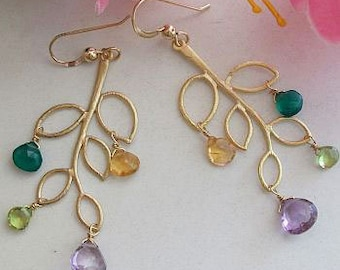 Leaf Branch Earrings, Gold Earrings, Amethyst, Citrine, Peridot, green Onyx Briolettes gift for Her, Mom, Sister, Birthday