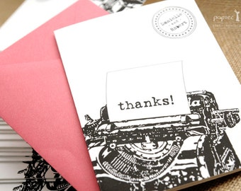Retro Typewriter Thank You card, set of 20 / 100% recycled paper, stamp, black typewriter, vintage and retro look