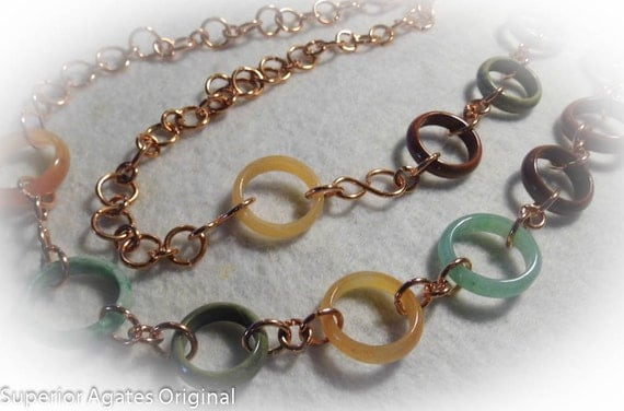 Copper Gem Stone Chain Necklace  Belt 38 Inch