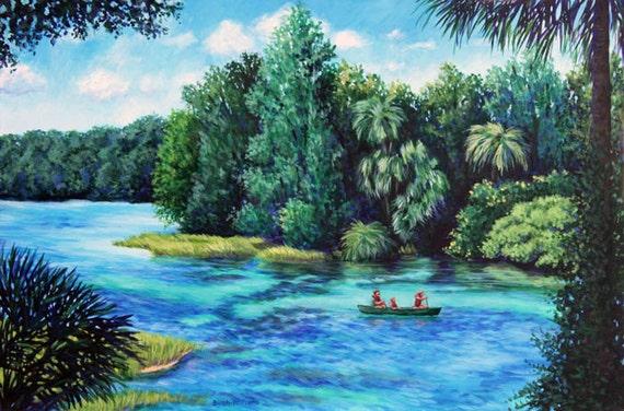 Canoe on River Landscape Art Print Florida 8x12 Giclee