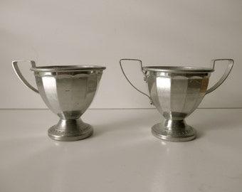 Vintage Aluminum Child's Creamer and Sugar Set - silver, art deco