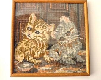 Vintage Framed NEEDLEPOINT - two little kitties