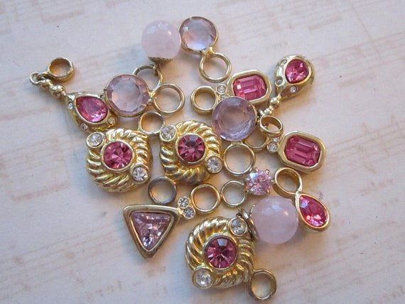 vintage bead and dangle mix - 15 pieces - PINK assortment