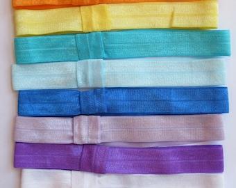 Set of 11 Elastic Interchangeable headbands, infant, bow, flower - FOE - 7/8 Fold over elastic