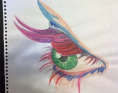 SALE colorful eye on paper